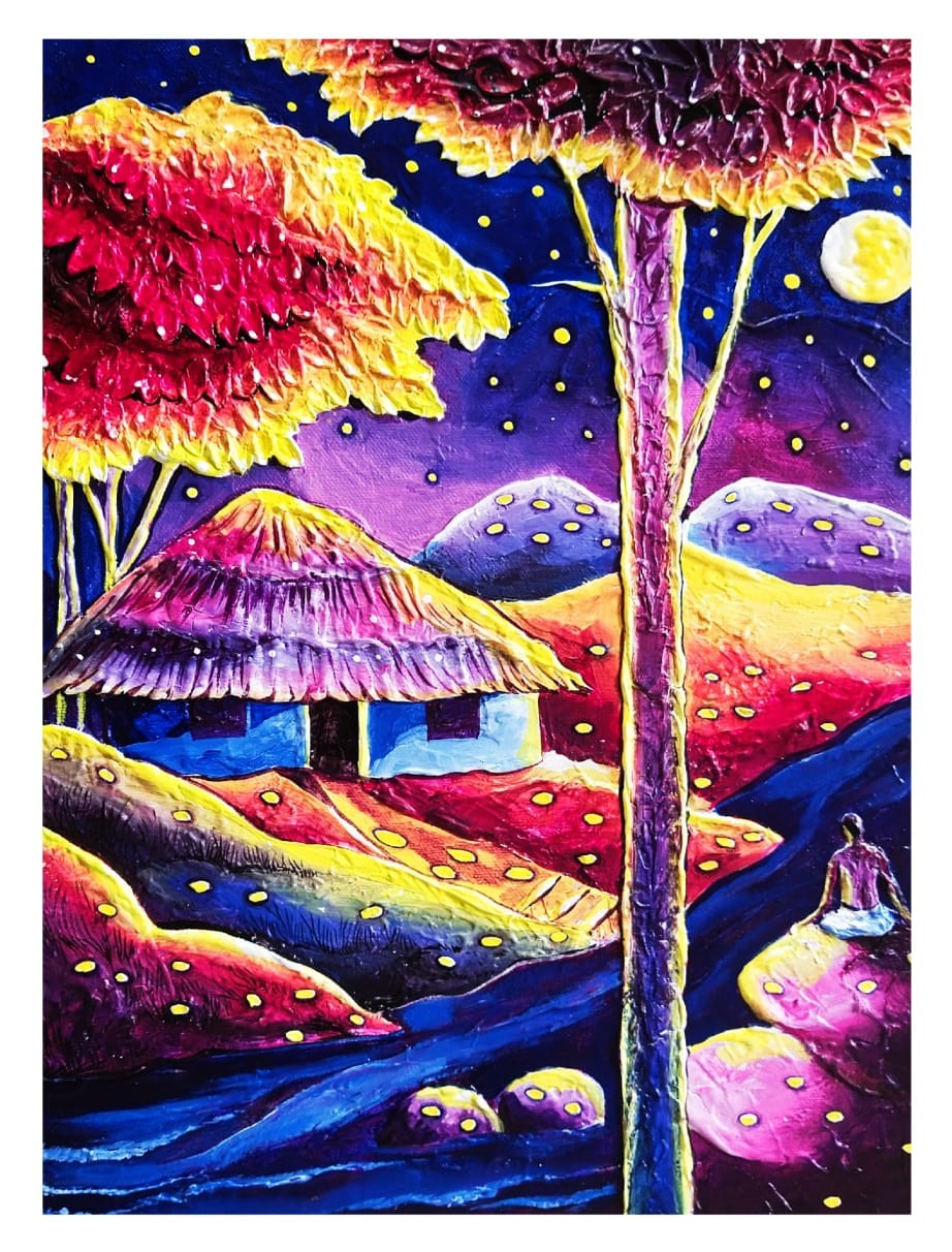 The house amidst nature #2 by Ajith Kumar K. K., Fantasy Painting, Acrylic on Canvas, Camelot color