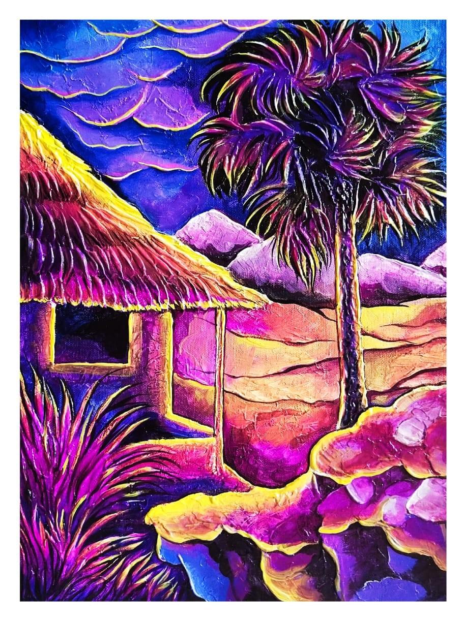 The house amidst nature #3 by Ajith Kumar K. K., Fantasy Painting, Acrylic on Canvas, Grape color