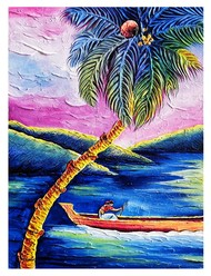 Man rowing boat by Ajith Kumar K. K., Fantasy Painting, Acrylic on Canvas, Biscay color