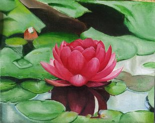 Lotus by Henry Charles, Realism Painting, Oil on Canvas Board, Asparagus color