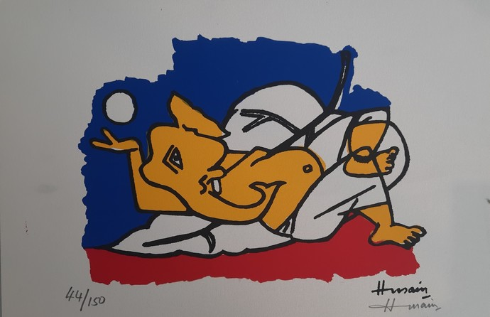 Ganesh by M F Husain, Expressionism Serigraph, Serigraph on Paper, Dawn color