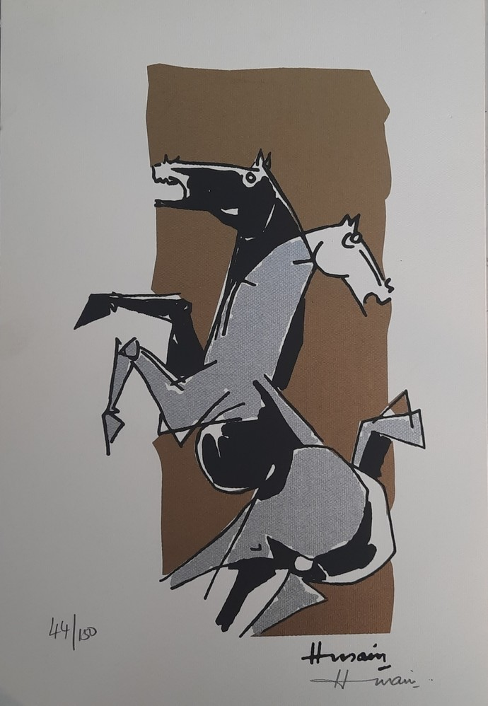 Horses by M F Husain, Expressionism Serigraph, Serigraph on Paper, Cloudy color