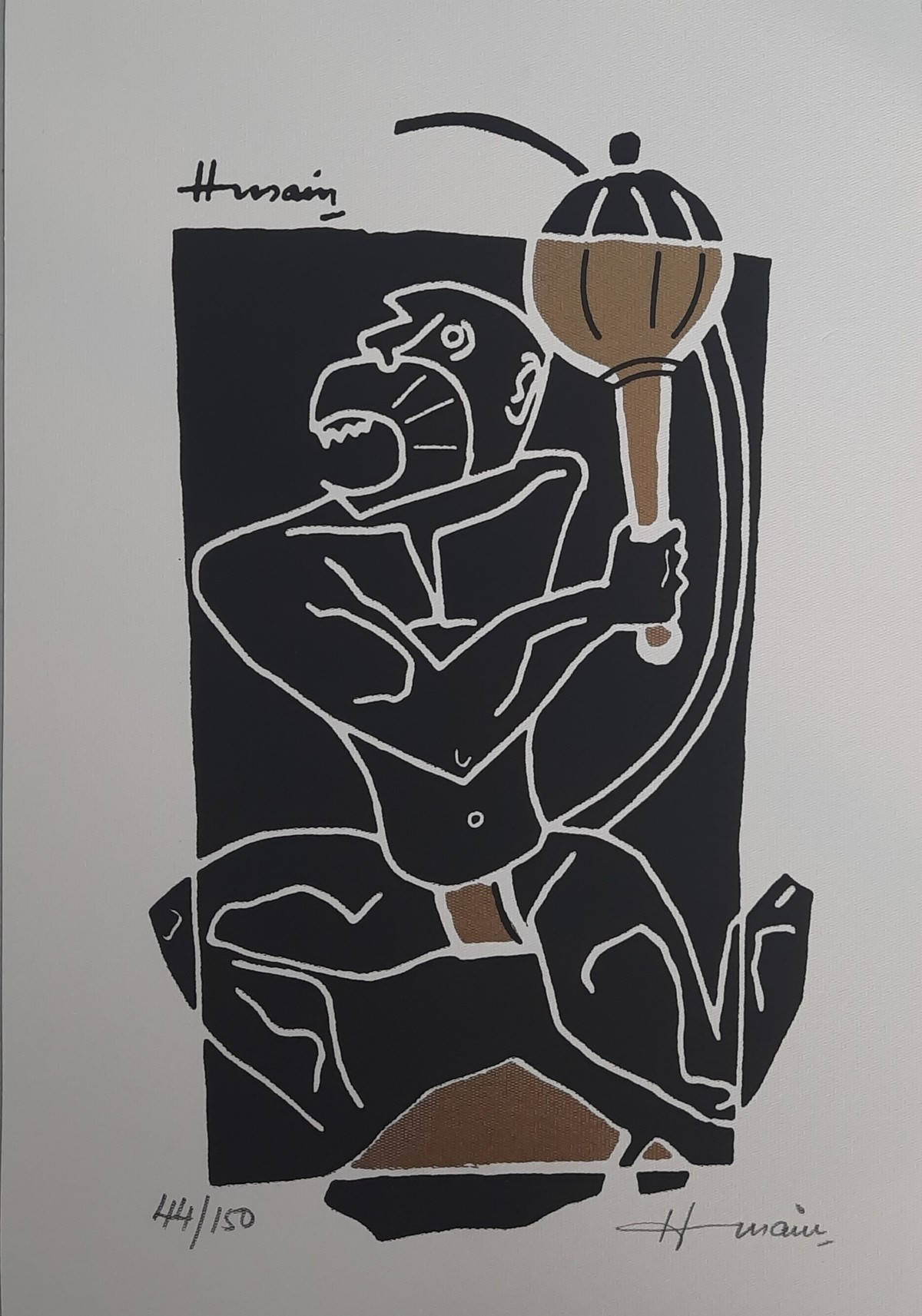 Bajrangbali by M F Husain, Expressionism Serigraph, Serigraph on Paper, Cloudy color