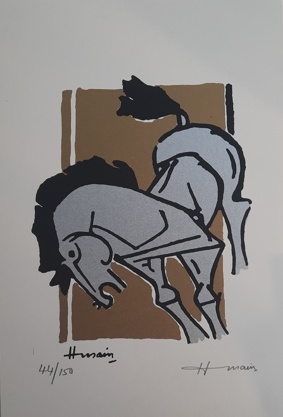 Horse by M F Husain, Expressionism Serigraph, Serigraph on Paper, Quick Silver color
