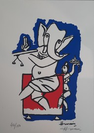 Ganesh with flute by M F Husain, Expressionism Serigraph, Serigraph on Paper, Cloudy color
