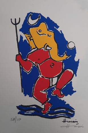 Ganesh by M F Husain, Expressionism Serigraph, Serigraph on Paper, Quick Silver color