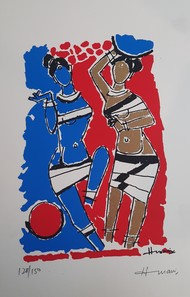 Village women by M F Husain, Expressionism Serigraph, Serigraph on Paper, Chathams Blue color