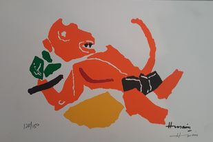 Hanuman by M F Husain, Expressionism Serigraph, Serigraph on Paper, Dawn color