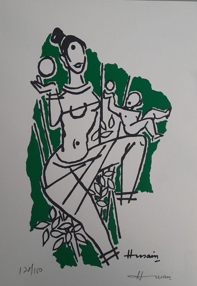 Peasant women by M F Husain, Expressionism Serigraph, Serigraph on Metallic film pasted on paper, Quick Silver color