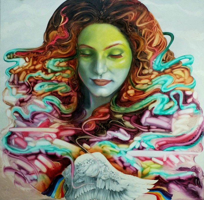 My Rainbow wings by Ankur Rana, Fantasy Painting, Oil on Canvas, Green Spring color