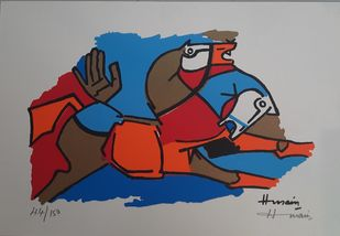 Horse by M F Husain, Expressionism Serigraph, Serigraph on Paper, Dawn color