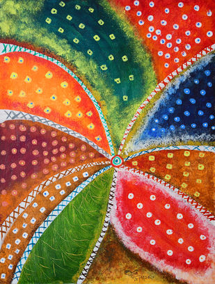 Flower of Unity by Dipankar Lahiri, Abstract Painting, Acrylic on Canvas, Plantation color