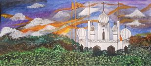 Tranquility at the Gurudwara;serving humanity since 1469 by Harleen Kaur Johal, Expressionism Painting, Acrylic on Acrylic Sheet, Mobster color