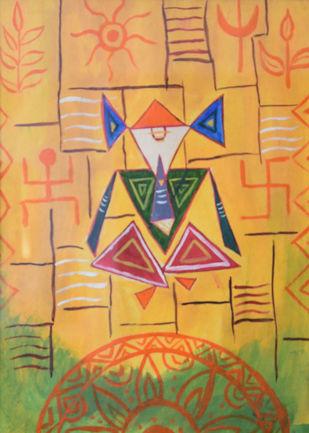 Ganesha by Dipankar Lahiri, Expressionism Painting, Watercolor on Paper, Di Serria color