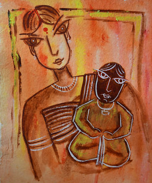 Mother and Child by Dipankar Lahiri, Expressionism Painting, Watercolor on Paper, Brown color