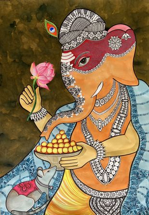 Lord Ganesh by Pallavi Rastogi , Decorative Painting, Permanent Ink on Paper, Antique Brass color