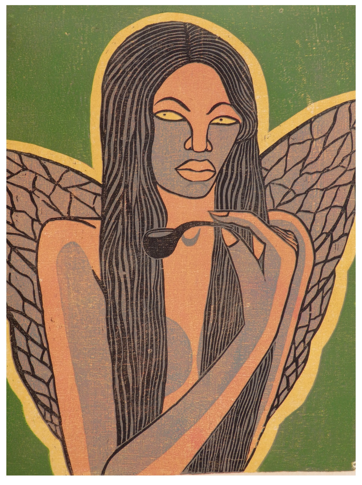 Metamorphosis by Portia Roy, Expressionism Painting, Wood Cut on Paper, Shadow color