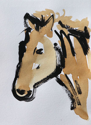 Horse 82 Digital Print by Santhosh CH,Illustration