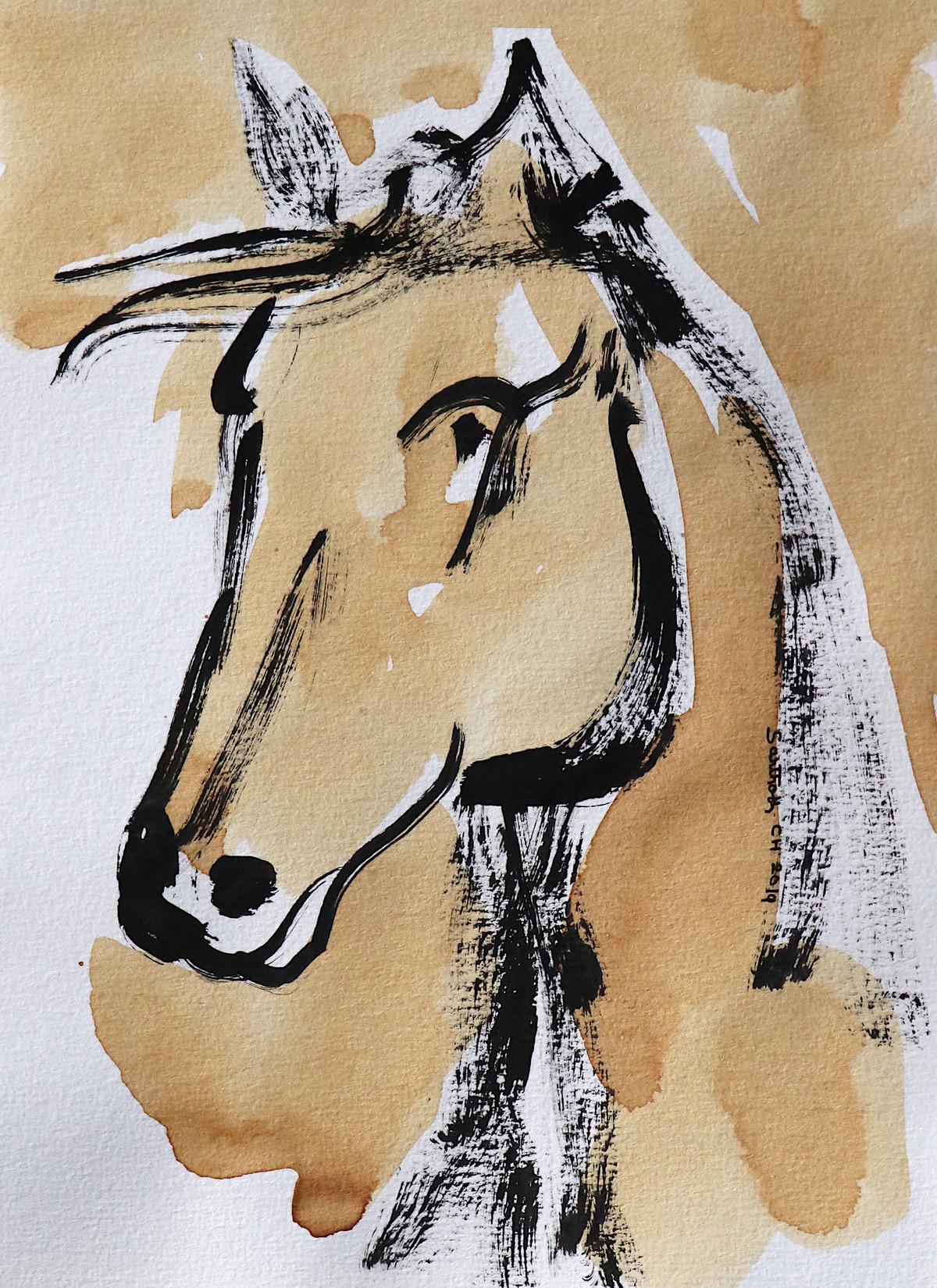 Horse 84 Digital Print by Santhosh CH,Illustration