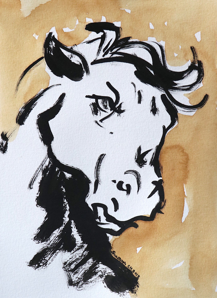 Horse 92 Digital Print by Santhosh CH,Illustration