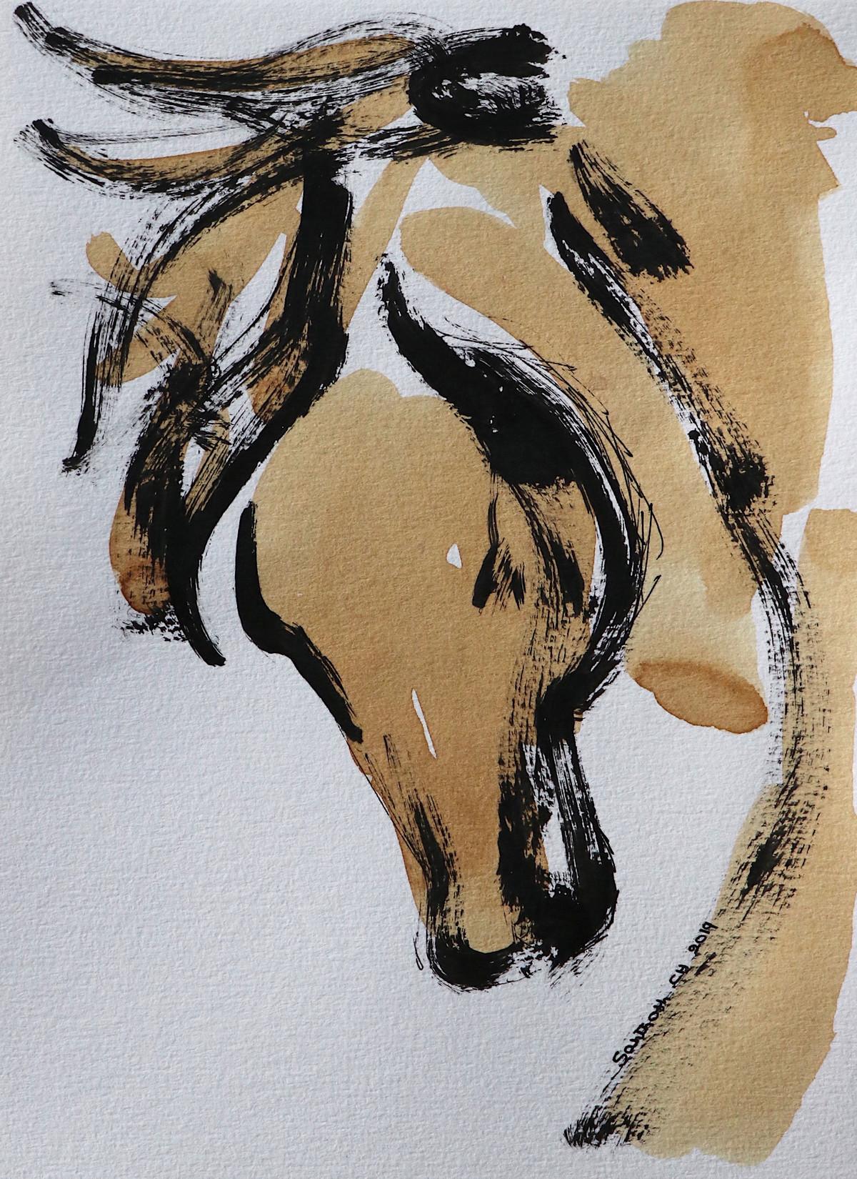 Horse 98 Digital Print by Santhosh CH,Illustration