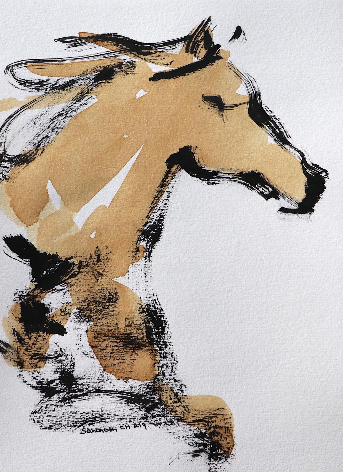 Horse 96 Digital Print by Santhosh CH,Illustration