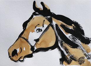 Horse 100 Digital Print by Santhosh CH,Illustration