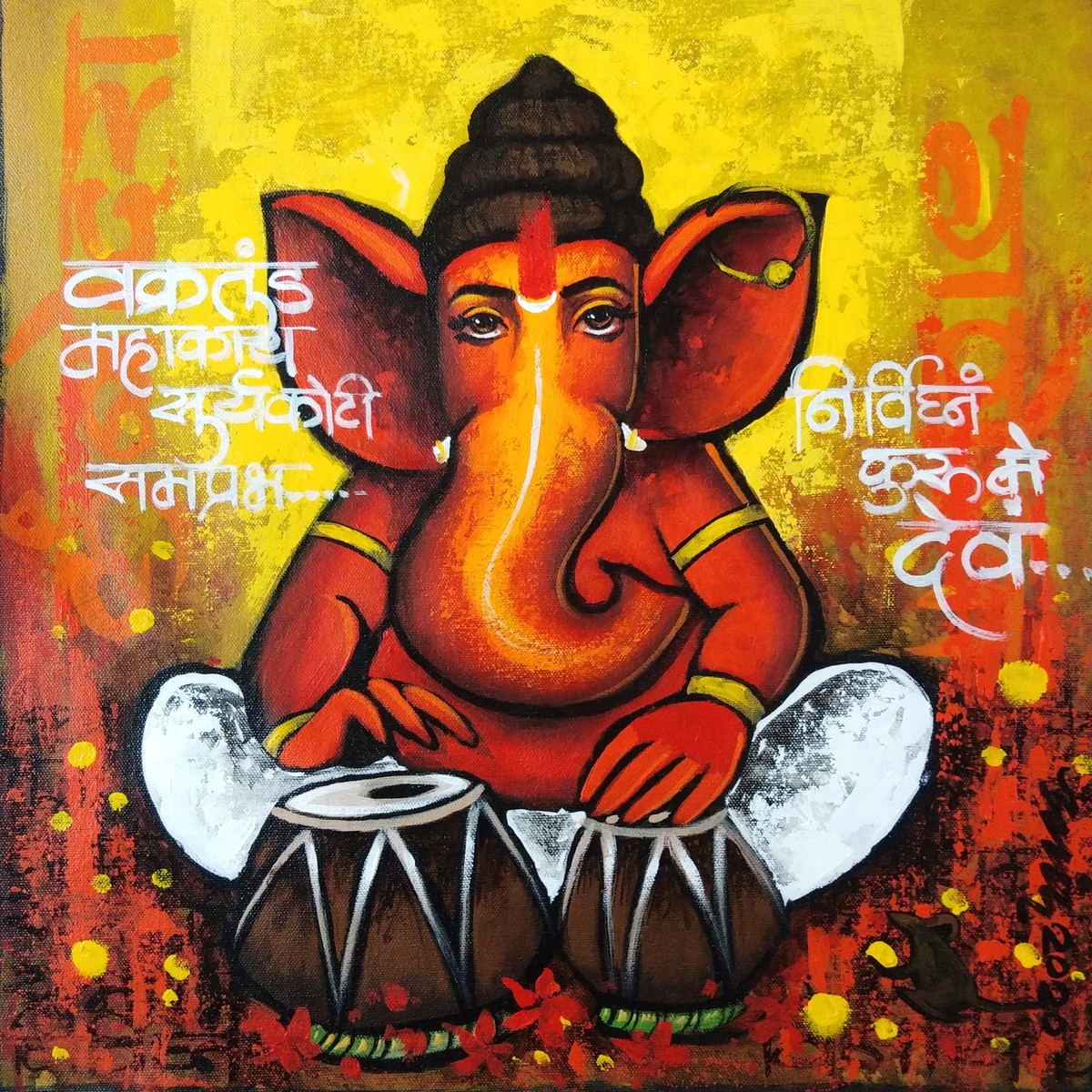 bappa by Anand Dharmadhikari, Decorative Painting, Acrylic on Canvas, Brandy Punch color