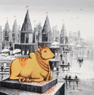 Lord Nandi at Banaras Ghat - 1 by Reba Mandal, Impressionism Painting, Acrylic on Canvas, Mine Shaft color