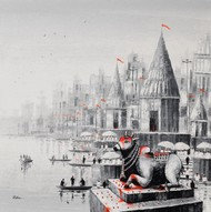 Lord Nandi at Banaras Ghat -2, by Reba Mandal, Impressionism Painting, Acrylic on Canvas, Cloud color