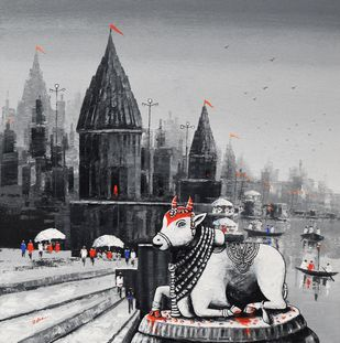 Lord Nandi at Banaras Ghat -3, by Reba Mandal, Impressionism Painting, Acrylic on Canvas, Silver color