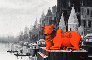 Lord Nandi at Banaras Ghat - 4 by Reba Mandal, Impressionism Painting, Acrylic on Canvas, Timberwolf color