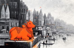 Lord Nandi at Banaras Ghat - 5 by Reba Mandal, Impressionism Painting, Acrylic on Canvas, Timberwolf color