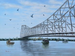 Howrah Bridge in Kolkata by Purnendu Mandal, Impressionism Painting, Acrylic on Canvas, Regent St Blue color