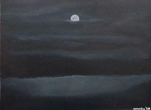 Night sea by Harleen Kaur Johal, Impressionism Painting, Acrylic on Board, Tuna color