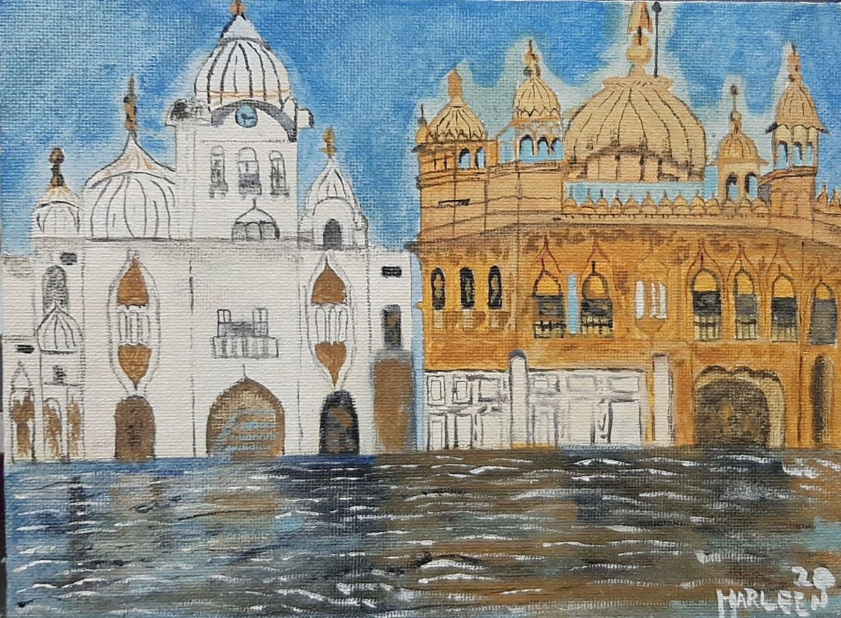 The golden temple by Harleen Kaur Johal, Impressionism Painting, Acrylic on Board, Mantle color