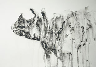 Tears of Heaven - Rhinoceros by Nisha Sehjpal, Illustration Painting, Charcoal on Paper, Quill Gray color