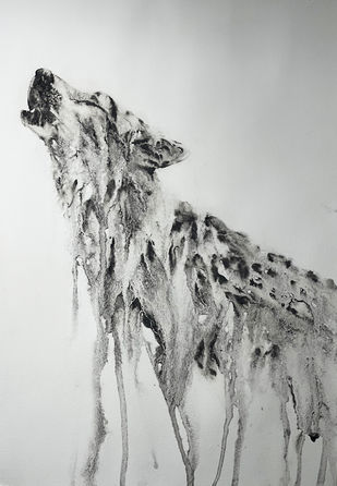 The Howl by Nisha Sehjpal, Illustration Painting, Charcoal on Paper, Pumice color