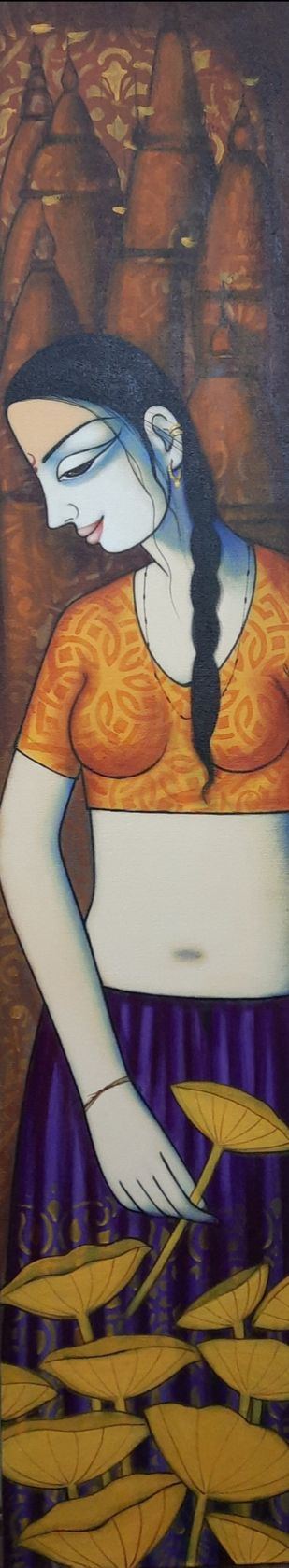 Lotus by Pravin Utge, Expressionism Painting, Acrylic on Canvas, Tobacco Brown color