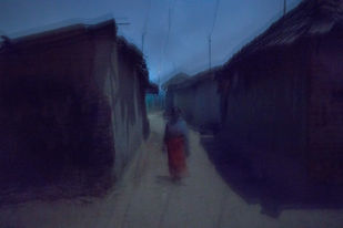 Lady in the Village by Arka, Digital Photography, Digital Print on Archival Paper, Gray color