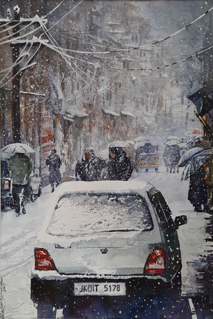 Winter in Kashmir by Masood Hussain, Impressionism Painting, Watercolor on Paper, Suva Gray color