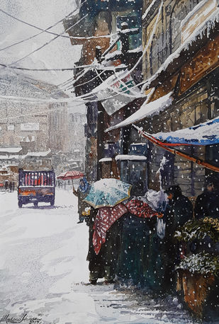 Winter in Kashmir by Masood Hussain, Impressionism Painting, Watercolor on Paper, Shark color