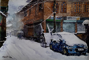 Winter in Kashmir by Masood Hussain, Impressionism Painting, Watercolor on Paper, Thunder color