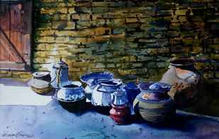 Rural Kitchen of Kashmir by Masood Hussain, Impressionism Painting, Watercolor on Paper, Pumice color