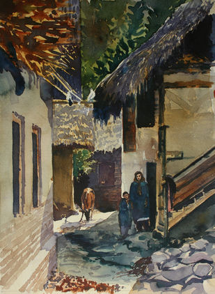 Village life in Kashmir by Masood Hussain, Impressionism Painting, Watercolor on Paper, Armadillo color