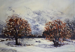 Winter in Kashmir by Masood Hussain, Impressionism Painting, Watercolor on Paper, Cotton Seed color