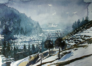 Winter in Kashmir by Masood Hussain, Impressionism Painting, Watercolor on Paper, Slate Gray color