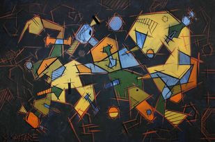 Everyday by Sanket Sagare, Abstract Painting, Acrylic on Canvas, Tussock color