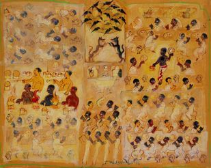 Annapurna Restraunt by Subroto Mandal, Expressionism Painting, Tempera on Paper, Aztec Gold color