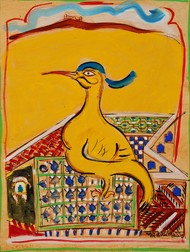 Bird king by Subroto Mandal, Expressionism Painting, Tempera on Paper, Hokey Pokey color